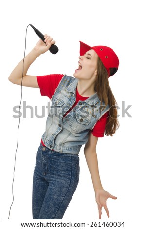 Pretty girl sings karaoke isolated on white - stock photo