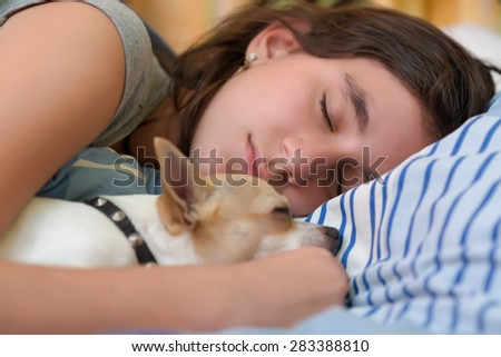 Pretty girl sleeping with her small chihuahua dog - stock photo
