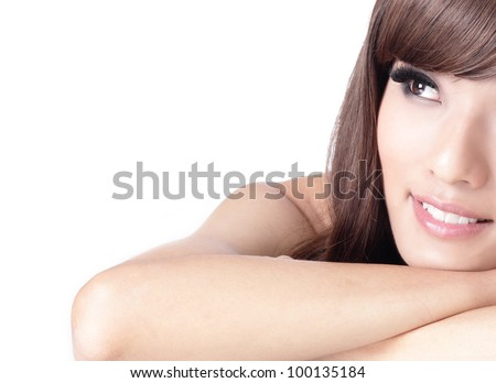 pretty girl smile face and look to blank copy space , model is a asian woman - stock photo