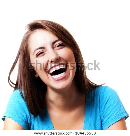 pretty girl smiling and laughing - stock photo