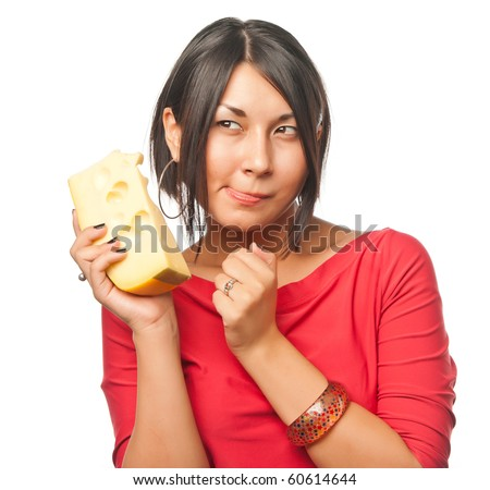 Pretty girl with a big piece of cheese - stock photo