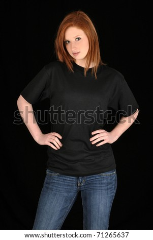 Pretty girl with blank black t-shirt