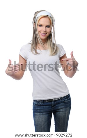Pretty girl with blank t-shirt- place your logo on it