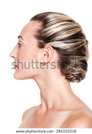Pretty girl with braided hairstyle portrait