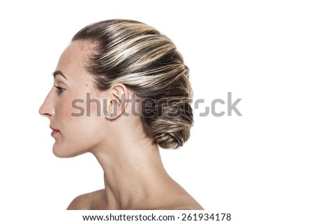 Pretty girl with braided hairstyle profile portrait