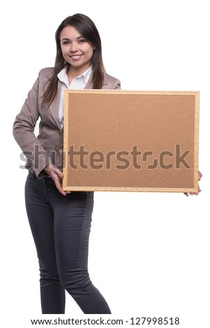 Pretty girl with business message board - stock photo