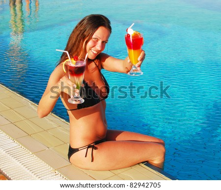 pretty girl with cocktails