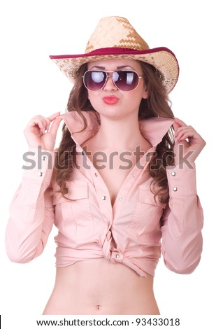 Pretty girl with cowboy hat on white background - stock photo