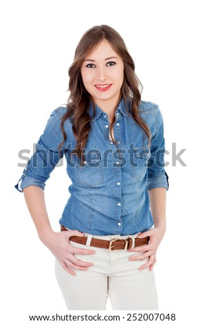 Pretty girl with denim shirt isolated on a white background - stock photo