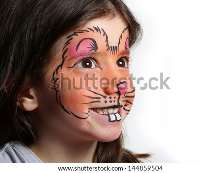 Pretty girl with face painting of a mouse