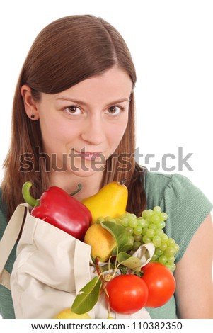 Pretty girl with healthy food