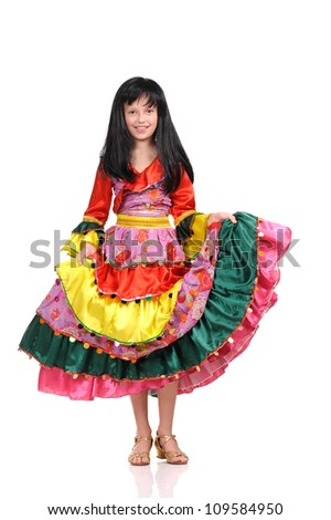 pretty girl with in the colorful dress on white background