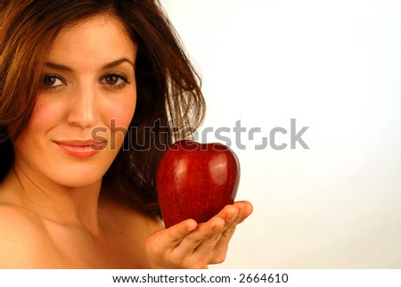 pretty girl with red apple