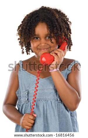 Pretty girl with red phone a over white background