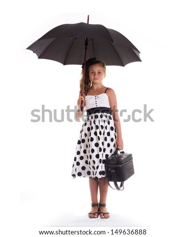 Pretty girl with umbrella.Space for copy.Isolated on white - stock photo