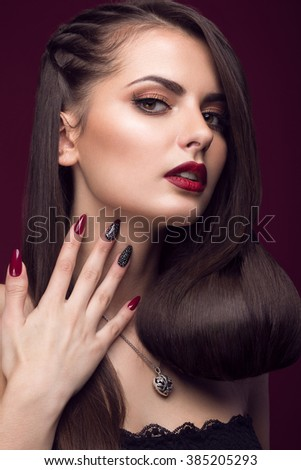 Pretty Girl Unusual Hairstyle Bright Makeup Stock Photo - Hairstyle design pictures
