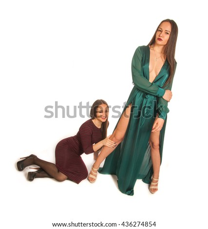 pretty girls. contrast, modest and sexuality. modest girl sitting near the feet, sexy dress standing in the open. Sisters - twins - stock photo