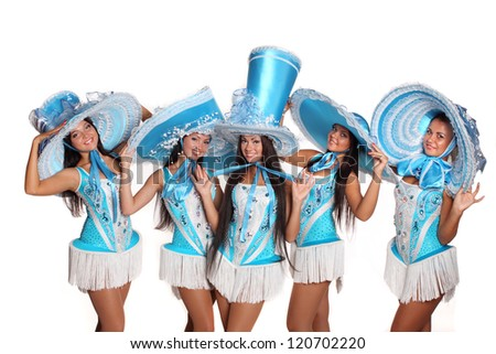 pretty girls in dance costumes with hats - stock photo