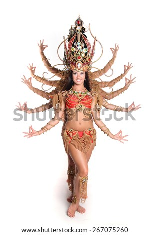 pretty girls in dance Indian costumes in dance composition - stock photo