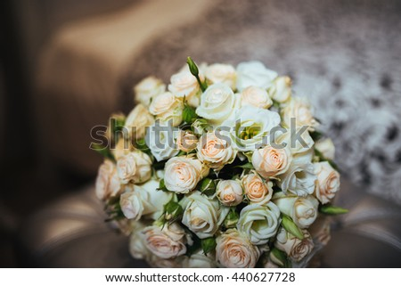 Pretty good wedding bouquet of various flowers. Close-up