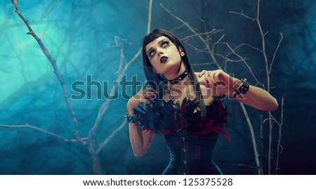 Pretty gothic girl wearing tight feather corset, studio shot with fog and branches - stock photo