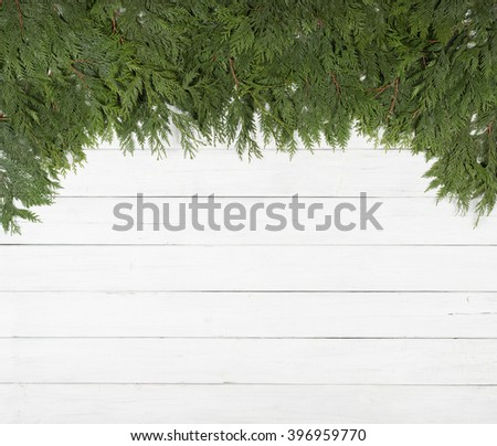 Pretty Green Cedar Tree Limbs and Needles laying along top side of frame on Rustic White Painted Board Background with extra room or space for copy, text, your words.  Horizontal card template