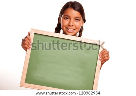 Pretty Hispanic Girl Holding Blank Chalkboard Ready for your Own Message Isolated on a White Background. - stock photo