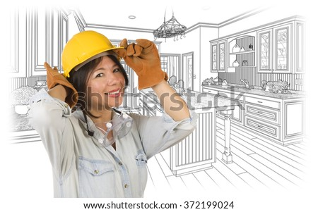Pretty Hispanic Woman in Hard Hat and Gloves with Kitchen Drawing Behind.