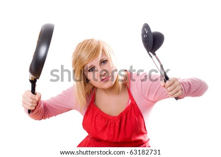pretty housewife with kitchen utensil and pan isolated on white background - stock photo
