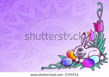 Pretty illustration with easter eggs , tulips and bunny over purple background .Great holiday stationary template with lots of room for text. - stock photo