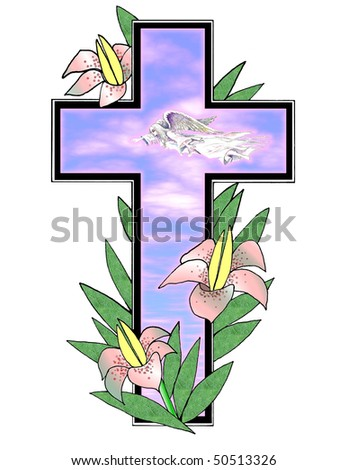 Pretty illustration with Easter lilies , angel ,morning sky and cross over white background .Useful holiday design element . - stock photo