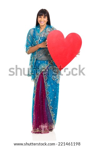 pretty indian woman holding heart shape isolated on white - stock photo