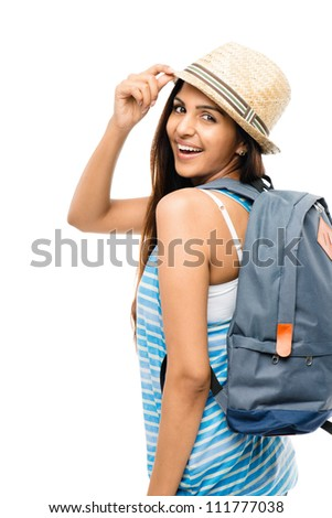Pretty Indian woman tourist holding passport isolated on white background - stock photo