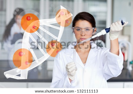 Pretty lab worker adding chemical to test tube with dna helix interface