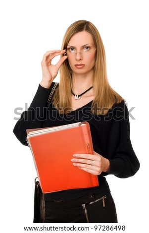 Pretty lady in black with the folder - stock photo