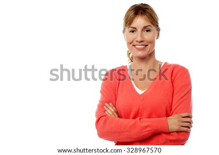 Pretty lady posing over white - stock photo