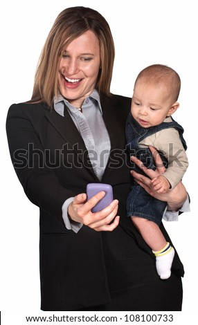 Pretty lady with baby looking at her telephone screen