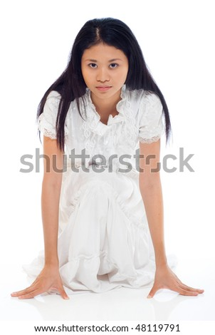 pretty lady with white dress - stock photo