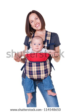pretty little baby sitting in the sling, smiley woman holding his. isolated on white background - stock photo