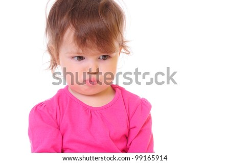 Pretty little girl. a child's face close up. isolated on white - stock photo