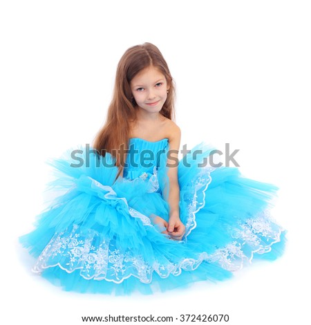 pretty little girl dressed like a princess - stock photo