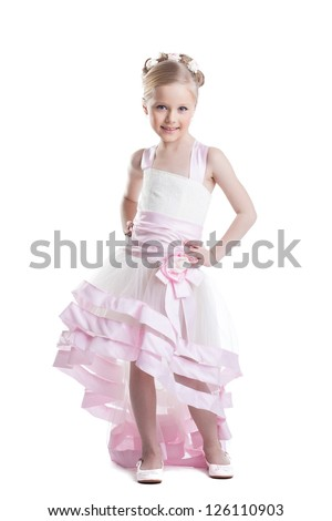 Pretty little girl in beautiful dress isoloated