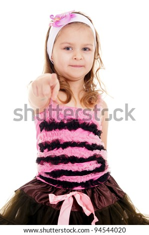 pretty little girl in cute dress on white - stock photo