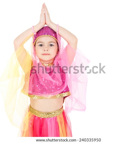 pretty little girl in the costume of the eastern beauty - stock photo