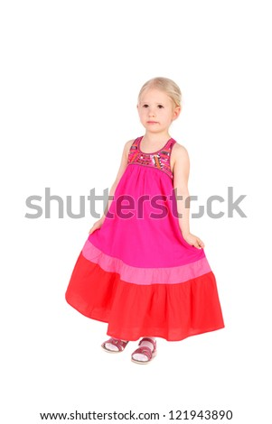 pretty little girl in the folk dress