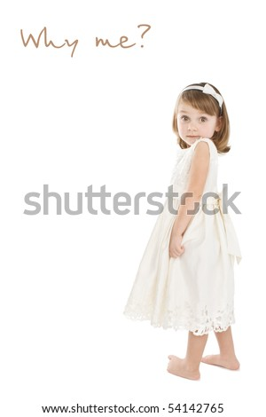 Pretty little girl in white dress making funny face.
