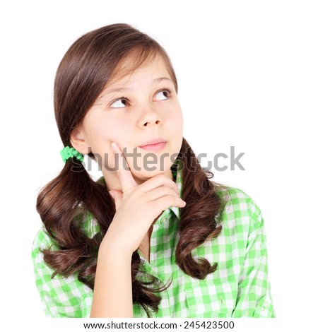 pretty little girl looking right up - stock photo