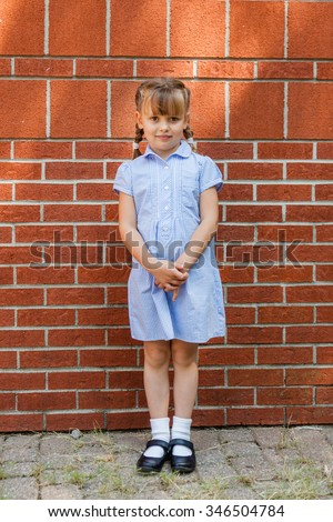 Pretty little girl of 5 years old in blue gingham dress standing near brick wall. - stock photo