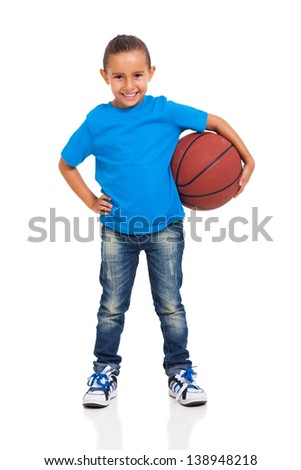 pretty little girl posing with a ball on white background - stock photo