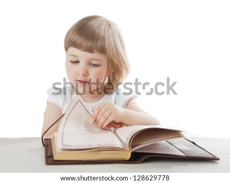 Pretty little girl reading an interesting book; white background